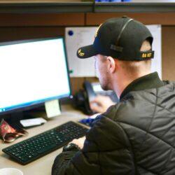 Worker in computer